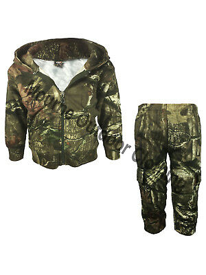 Kids Camouflage Real Tree Camo Hooded Hunting Tracksuit Hoodie Bottom Suit