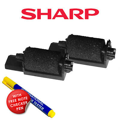 2 x Sharp XE-A102 Ink Rollers XE-A102 Till Ink Rollers + FREE NOTE CHECKER PEN