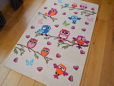 New Bright Cute Owl Design Small Large Kids Rugs Childrens Nursery Rug Mat Cheap