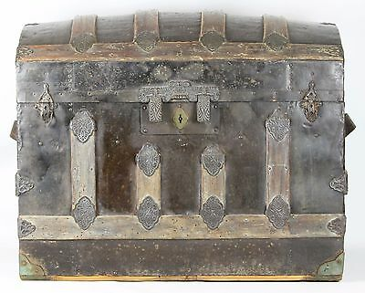 Steamer Trunk. Wood, Iron And Brass Finials. Spain. 19Th Century.
