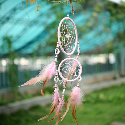 Handmade Pink Dream Catcher With feathers Wall Hanging Decoration Decor Gift