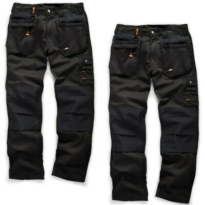 Scruffs WORKER PLUS TWIN PACK Black Mens Work Trousers Trade Hardwearing