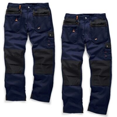 Scruffs WORKER PLUS TWIN PACK Navy Mens Work Trousers Trade Hardwearing