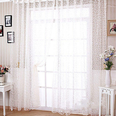 Floral Tulle Voile Balcony Window Curtain Drape Panel Sheer Valances Home