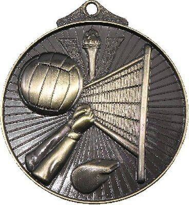 Volleyball 3D 52mm Gold Medal Engraved / Ribbon FREE