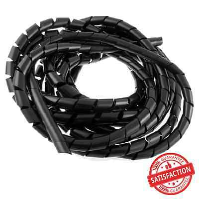 14mm Outside Dia 17 Ft Polyethylene Spiral Wire Wrap Desktop PC Manage Cable