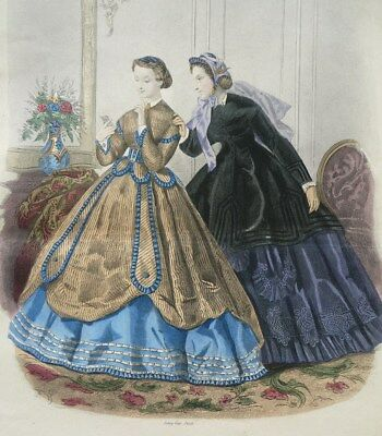 Damen In Ballkleidern Kleid Mode Altkolorierte Radierung La Mode Illustrée 1865