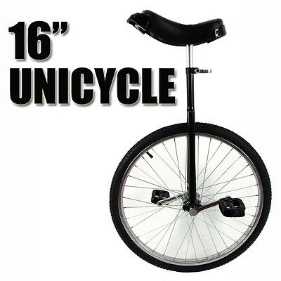 "Black 16"" Unicycle Fitness Pro Fun Uni Cycle Scooter Circus Bike Youth Kids"