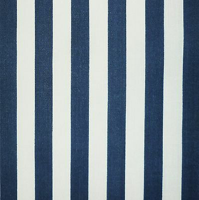 White & Navy Blue Stripe Polycotton Fabric *Per Metre