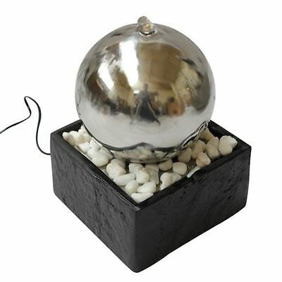 Orb Indoor Tabletop Water Feature with Stone Base & LED Light