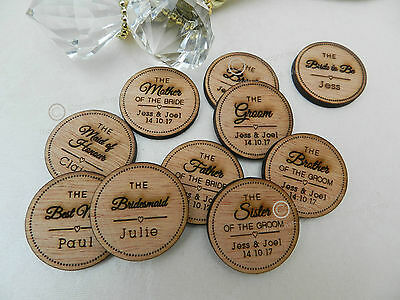 Personalised Wooden Bridal Party Badge's: Stags,  Hen's, Weddings, Shabby Chic