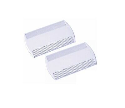 2 X White Double Sided Nit Combs for Head Lice Detection Comb Kids Pet Flea