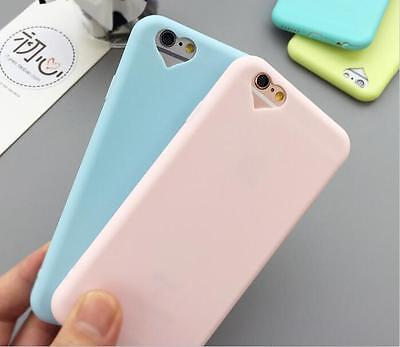 Heart Cute Candy Color Silicone Rubber Gel TPU Case Cover For iPhone 6S 7 6SPlus