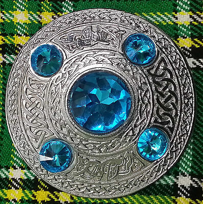 "Scottish Kilt Fly Plaid Brooch Sky Blue 5 Stone Silver finish 4""/Celtic Brooches"