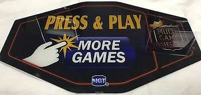 "Slot Machine Topper Insert "" Press & Play More Games """