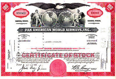 Pan American World Airways Inc NY 1969 Stock Certificate
