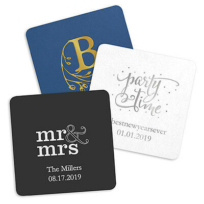Personalized Square Paper Coasters Wedding Party Decorations Q25958