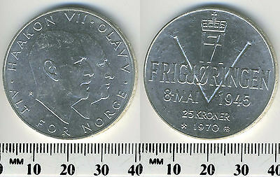 Norway 1970 -  25 Kroner Silver Coin - 25th Anniversary of Liberation - #4