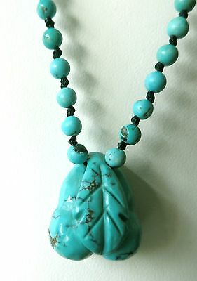 """Antique Vintage Chinese Natural Carved Peach Blossom Turquoise Necklace 22"""""""