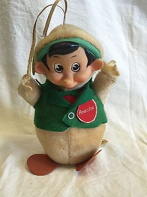 Vintage Pinocchio Plush Roly Poly Chime Doll Walt Disney Productions Co. Japan