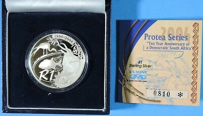 2004 South Africa Protea Series Gem Proof 1 Rand Silver Coin COA Low Mintage