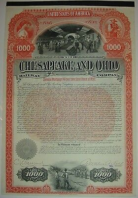 1892 Chesapeake & Ohio Railway Company Bond Stock Certificate Railroad CSX