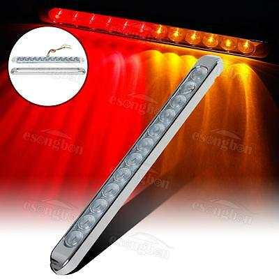 """17"""" Clear Cover (Amber+Red) 12LED Marker Light Bar Stop Turn Tail w/Chrome bezel"""