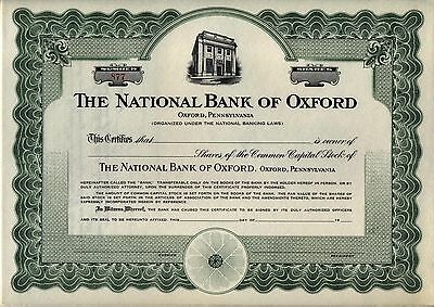 National Bank of Oxford Stock Certificate Pennsylvania