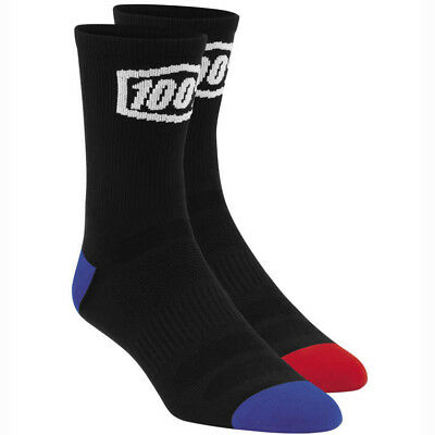 "100 Percent NEW Skate Sock Pair 6"" Athletic BMX MTB 100% Terrain Black Socks"