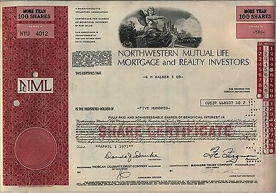 Northwestern Mutual Life Mortgage and Realty Investors Stock Certificate NML