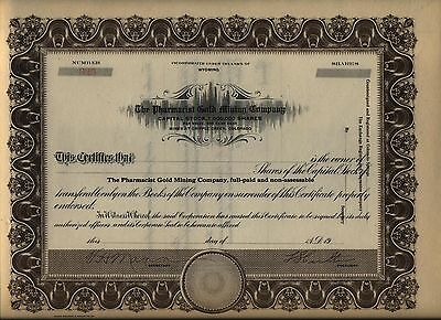 Pharmacist Gold Mining Company Stock Certificate Wyoming Cripple Creek Colorado