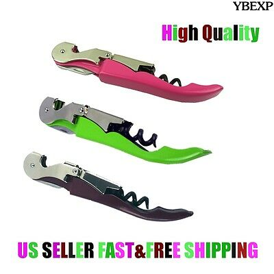 Colorful Corkscrew Doubled Hinged Waiters Wine Bottle Opener Foil Cutter