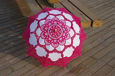 Battenburg Fuchsia Lace Parasol Umbrella Wedding Bridal 30 Inch