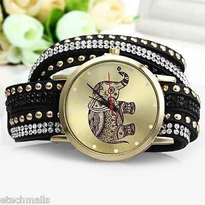 Women Multicolor Wrist Quartz Watch Elephant Rivet Bracelet Braided WindingWrap