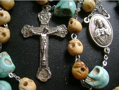 Tibet oxen Bone Skull Bead Turquoise Skull ROSARY CRUCIFIX CATHOLIC NECKLACE box