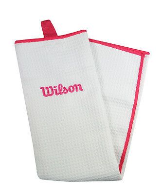 Wilson Ladies Golf Towel - Pink and White Golf Towel 40cms x 53cms