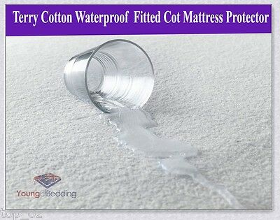 Supper Thick Cotton Terry Baby Cot Mattress Protector w/ Waterproof Underley