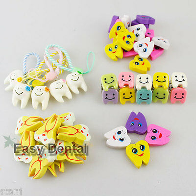 Dental Cell Phone Chain Hang Strap + Finger Ring + Tooth Rubber Erasers Gift