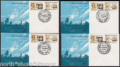 Australia 1972-3 AAT Captain Cook Set of 4 Base Cancel First Day Covers FDCs