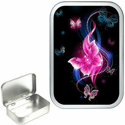 PINK PEARL BUTTERFLY 1oz SILVER HINGED TOBACCO TIN,50ml SEWING TIN,,PILL TIN