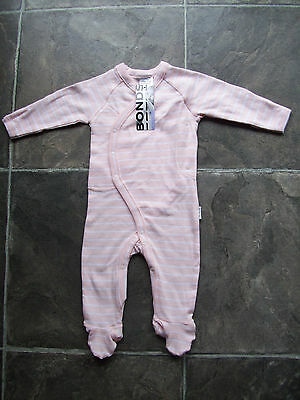 BNWT Baby Girl's Bonds Newbies Pink & White Coverall/Sleeper/Sleepsuit Size 000