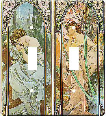Art Nouveau Alphonse Mucha Designs  Metal Switch Light Double Cover plate #4