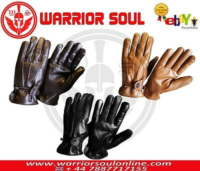Warrior Black Brown Tan Top Quality Cycling Driving Motorcycle Leather Gloves