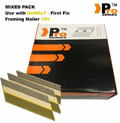 MIXED PACK 2000 Framing Nails for DEWALT 18v Cordless First Fix   005