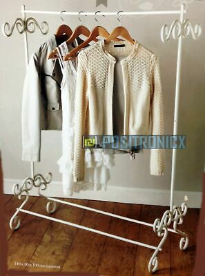 Chic Cream Clothes Garment Rail Metal Ornate Vintage Style Hanging Stand