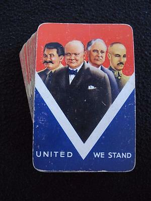 VINTAGE 1940's WW2 PACK OF PLAYING CARDS - ALLIED LEADERS - WINSTON CHURCHILL