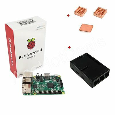 Raspberry Pi 3 Model B 1GB RAM 1.2GHz CPU + Black ABS Case +Heat Sink Kit