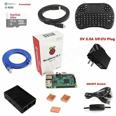 Raspberry Pi 3 Model B 1GB RAM Quad Core 1.2GHz CPU Media Center Starter Kit