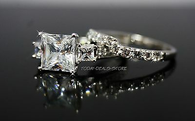 Three Stone Wedding Engagement Set  Princess Cut Real 14k White Gold 3.00 CTW