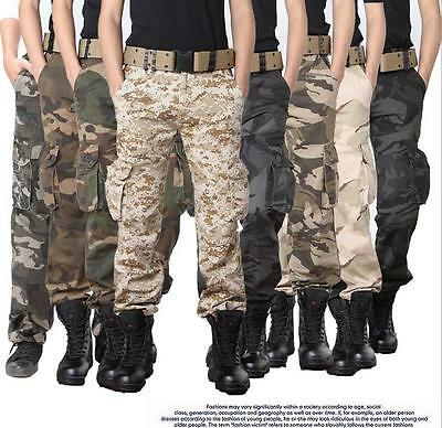 Mens Army Cargo Camo Combat Military Casual Trousers / Pants Waist 28-38